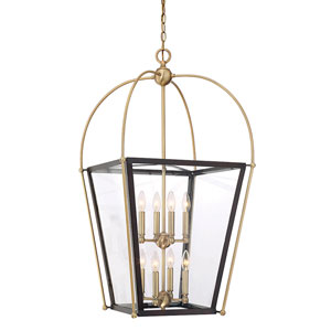 Uptown English Bronze and Warm Brass 20-Inch Eight-Light Pendant