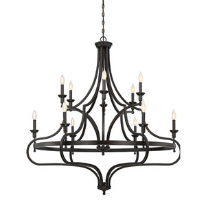 Wellington English Bronze 48-Inch Twelve-Light Chandelier