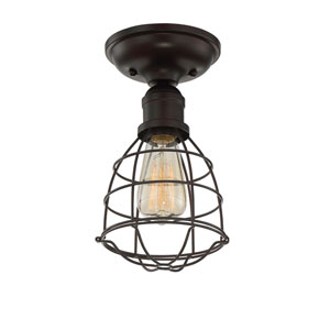 River Station English Bronze One-Light Semi Flush Mount