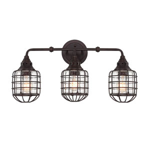 River Station English Bronze 24-Inch Three-Light Bath Fixture