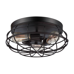 River Station English Bronze 15-Inch Three-Light Flush Mount