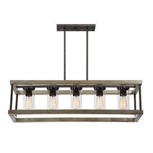 Afton Grey Five-Light Outdoor Chandelier