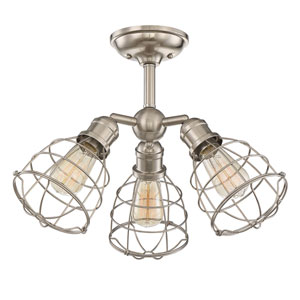 River Station Satin Nickel Three-Light Semi Flush