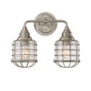River Station Satin Nickel Two-Light Bath