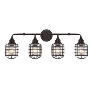River Station English Bronze 34-Inch Four-Light Bath Fixture