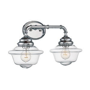 Evelyn Chrome 20-Inch Two-Light Bath Fixture