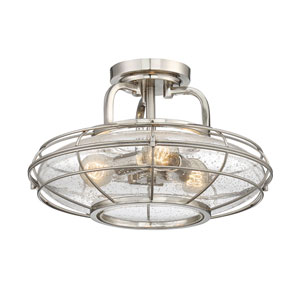 River Station Satin Nickel Three-Light Semi-Flush Mount