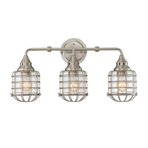 River Station Satin Nickel Three-Light Bath Light