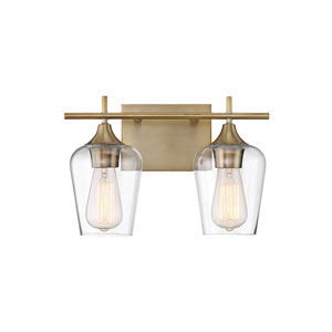 Nicollet Warm Brass 14-Inch Two-Light Bath Vanity