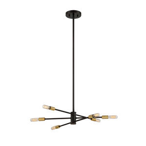 Uptown Bronze with Brass Accents Six-Light Chandelier