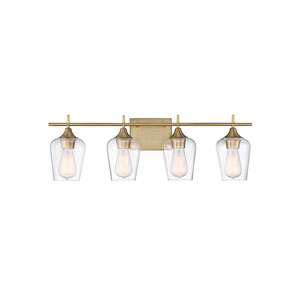 Nicollet Warm Brass 29-Inch Four-Light Bath Vanity
