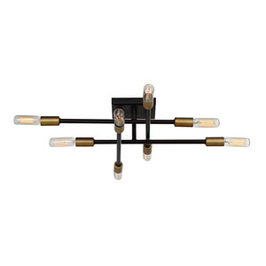 Uptown Bronze with Brass Accents Eight-Light Semi-Flush Mount