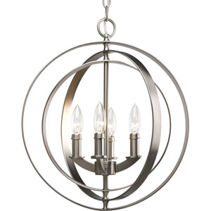 Isles Burnished Silver Four-Light Lantern Pendant with Matching Candle Sleeves