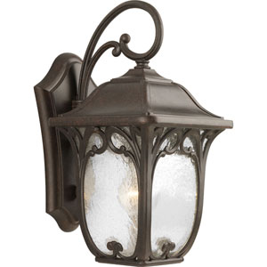 Wellington Espresso 15-Inch One-Light Outdoor Wall Lantern with Clear Seeded Glass Panels