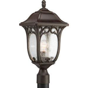 Wellington Espresso One-Light Outdoor Post Lantern with Clear Seeded Glass Panels