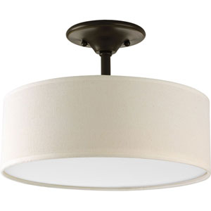 Evelyn Antique Bronze Two-Light Semi-Flush Mount with Beige Linen Shade