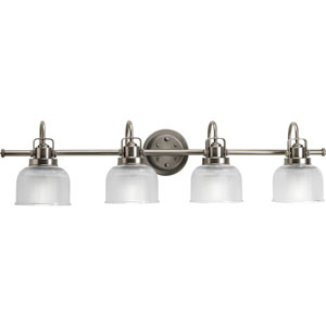 Afton Antique Nickel Four-Light Bath Fixture with Clear Double Prismatic Glass Shades