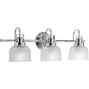 Afton Polished Chrome Three-Light Bath Fixture with Clear Double Prismatic Glass Shades