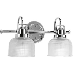 Afton Polished Chrome Two-Light Bath Fixture with Clear Double Prismatic Glass Shades