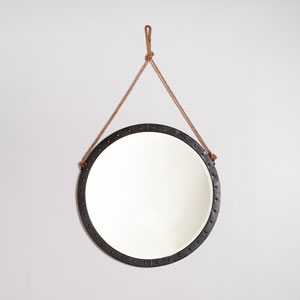 Camden Distressed Matte Black Nautical Mirror