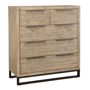Nora Taupe Reclaimed Pine Five Drawer Dresser