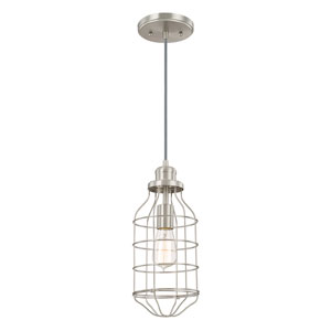 River Station Brushed Nickel One-Light Mini Pendant