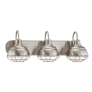 River Station Satin Nickel Three-Light Bath Sconce