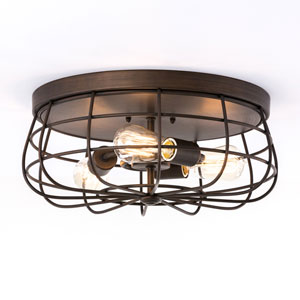 River Station Rubbed Bronze Three-Light Flush Mount