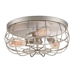 River Station Satin Nickel Three-Light Flush Mount