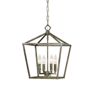 Kenwood Antique Silver Four-Light Lantern Pendant