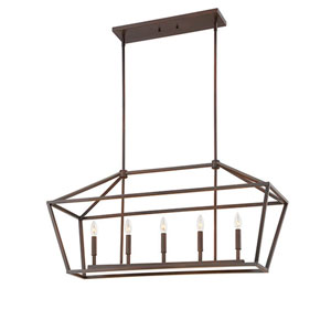 Kenwood Rubbed Bronze Five-Light Linear Pendant