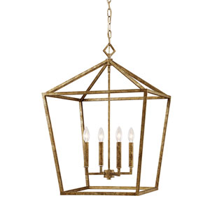 Kenwood Vintage Gold Four-Light Lantern Pendant