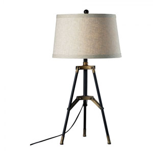 Afton Aged Gold and Black One-Light Tripod Table Lamp