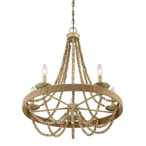 Selby Natural Wood Five-Light Chandelier