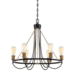 River Station Black and Brass Six-Light Chandelier