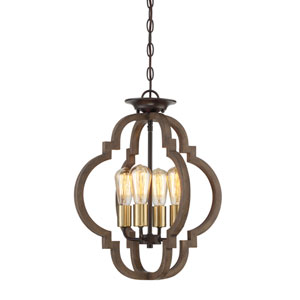 River Station Wood and Brass Four-Light Semi Flush Mount