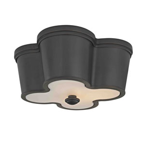 Evelyn Old Bronze Black Framed Two-Light Flush Mount