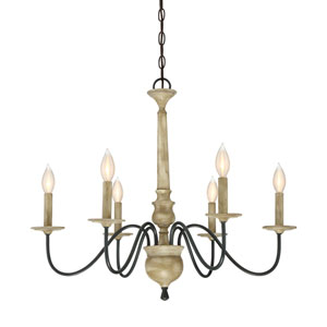 Quinn Distressed Wood Six-Light Chandelier