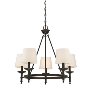 Wellington Rubbed Bronze Five-Light Traditional Chandelier with White Fabric Shade
