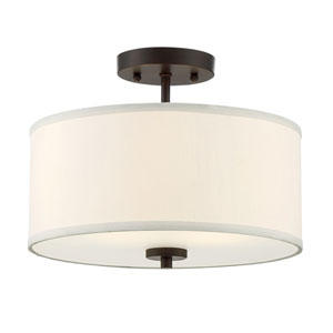 Nicollet Rubbed Bronze Two-Light Drum Semi-Flush Mount