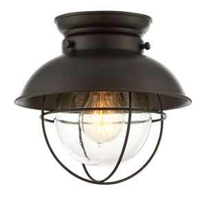 River Station Rubbed Bronze One-Light Industrial Lantern Flush Mount