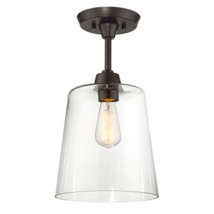Nicollet Rubbed Bronze One-Light Semi-Flush Mount with Clear Glass Shade