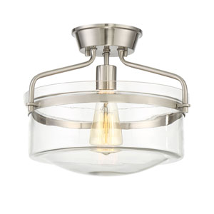Afton Brushed Nickel One-Light Drum Semi-Flush Mount