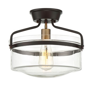 Afton Rubbed Bronze and Brass One-Light Drum Semi-Flush Mount