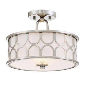 Selby Polished Nickel Two-Light Drum Semi-Flush Mount