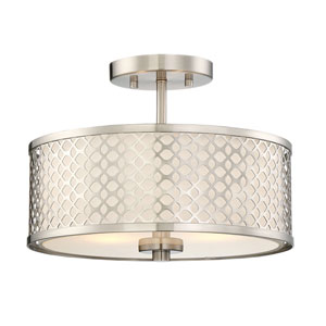 Nicollet Brushed Nickel Two-Light Drum Semi-Flush Mount