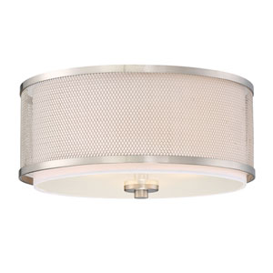 Nicollet Brushed Nickel Three-Light Drum Flush Mount