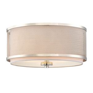 Nicollet Polished Nickel Three-Light Drum Flush Mount