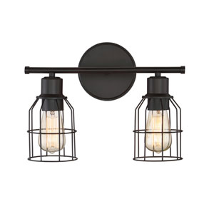 Afton Rubbed Bronze Caged Two-Light Industrial Vanity