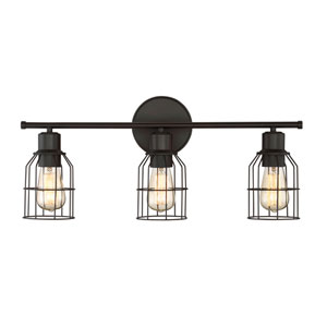 Afton Rubbed Bronze Caged Three-Light Industrial Vanity